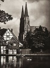 1924 Vintage GERMANY Soest Wiesenkirche Church Pond Duck Photo Art By HIELSCHER