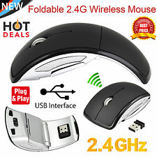 2.4Ghz Wireless Arc Folding Optical Scroll Wheel Mouse Mice For PC Laptop Black