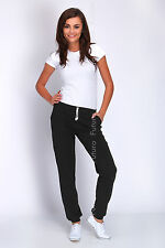 Women Sport Stylish Cuffed Pants Jogging Bottoms Pockets Joggers Track Sport DK