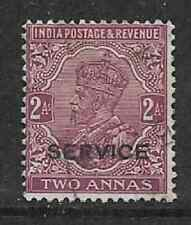 INDIA USED KGV ERA STAMP - 1913 OFFICIAL ISSUE 2 ANNA - OVERPRINT SERVICE.