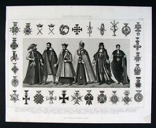 1874 Print -  Order of the Cross Medals - Various Countries Europe Costume Dress