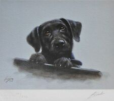 JOHN SILVER BLACK LAB PUP LABRADOR RETRIEVER PUPPY HAND SIGNED LIM.ED LITHOGRAPH