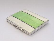 FINE ART DECO SOLID STERLING SILVER & GUILLOCHE ENAMEL CIGARETTE CASE B/HAM 1934