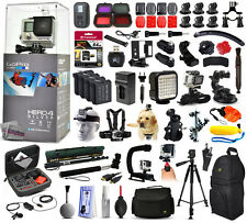 GoPro HERO4 Hero 4 HD Silver Edition + 64GB + Filters + Remote + 4 Battery