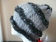 Hand knitted  elegant lace pattern beanie/hat, gray