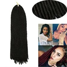 "24"" Soft Dreadlock Extensions Crochet Braids Synthetic Hair Extensions Black US"