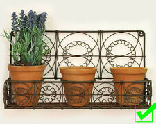 Rustic Wire Wall Planter Metal and TerraCotta Pots Rustic Kitchen Herb Garden