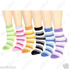 Non Skid Lot 6 Pairs Womens Soft Cozy Fuzzy Warm Striped Slipper Socks Size 9-11