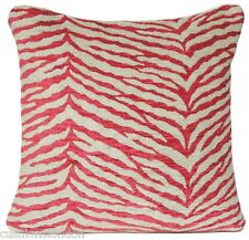 Zebra Cushion Cover Osborne & Little Fabric Red and Beige Chenille Selati Woven