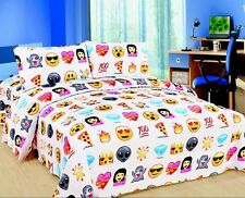 EMOJI EMOTION PIZZA & FACES FACES DUVET COVER BEDDING SET + 1 PILLOWCASE  KING