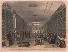 INTERIOR BOOKSTORE, JEWETT & CO, BOSTON, hand colored engraving original 1854