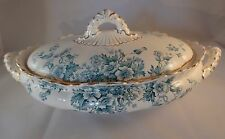 Keeling & Co Late Mayers Flora Lidded Gilded Blue Scalloped Tureen Serving Dish