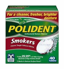 6 Pack - Polident Smokers, Antibacterial Denture Cleanser 40 Each