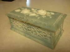 Vintage Avondale Roses Incolay Texture Handmade USA Jewelry Trinket Box Casket