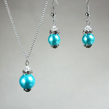 Turquoise blue pearls crystals necklace earrings wedding bridesmaid silver set