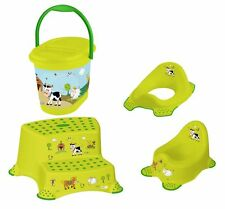 4 Set Z Ferme Drôle vert WC + pot bébé + Tabouret deux niveaux +Seau à couches