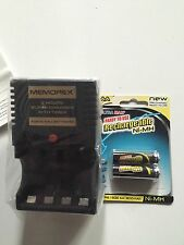 Memorex Battery Charger & Pack Of 2 Recharagable AA Batteties New