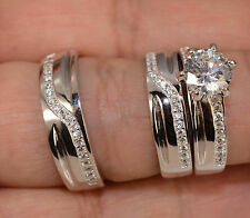 Men And Ladies White Gold Finish Trio Set Wedding  Engagement Rings L8 m 11