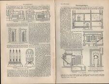 6-seitiger Druck 1909: Heizungsanlagen. Heizung Anlagen Technik Maschinen