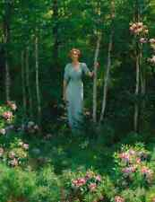 Art Postcard: Vintage repro - Edge of the Woods - Woman in Blue Dress - Forest