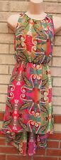PRIMARK FLORAL GREEN PINK MULTI COLORED FLORAL LONG DRAPE BACK SKATER DRESS 10 S