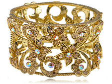 Retro Flower Flourish Golden Tone Crystal Rhinestone Cuff Bracelet Bangle USA