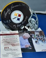 ANDY RUSSELL SIGNED CUSTOM FACEMASK MINI HELMET PITTSBURGH STEELERS 3 INSC JSA