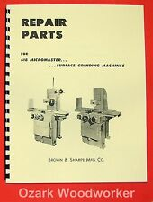BROWN & SHARPE 618 Micromaster Surface Grinder Parts Manual 0093