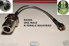 1 x 12in SMA Male Straight to N Female Bulkhead RF Pigtail RG405 0.086 Cable USA