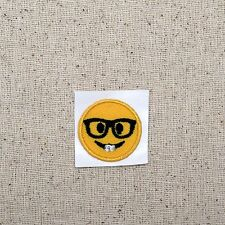 Iron On Embroidered Applique Patch - Smiley Face Emoji - Nerd Glasses - SMALL