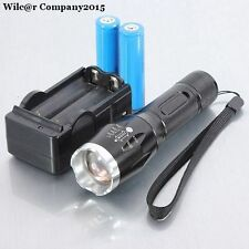 Military Grade Tactical LED Flashlight 1600 LM 2 Battery + Charger TC1200 Style