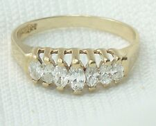 Estate 1/2 Carat 14K Yellow Gold Marquise Diamond Pyramid Wedding Ring