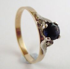 100% Genuine 9ct. Yellow Gold Vintage 0.50 cts Sapphire Triology Ring Sz 7 1/2US