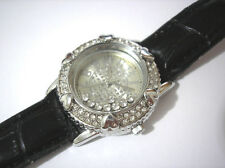 Iced Out Bling Bling Leather Band Ladies Watch Silver Item 3620