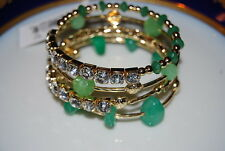 FANTASTIC STONY NEW NATURAL GREEN STONES & RHINESTONES STATEMENT SLINK BRACELET