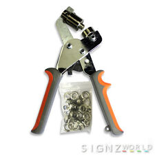 Handheld 10mm EYELET PLIERS Punch Machine + 30 Eyelets Presser Hole Tool Banner