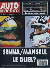 AUTO HEBDO n°788 du 23 Juillet 1991 SENNA/MANSELL CORVETTE  CAB