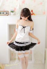 Sexy French Maid White Waiter Uniform Costume Suit for Cosplay & Lingerie Party