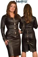 Misfitz black leather look pencil padlock jacket. Sizes 8-32 or made to measure