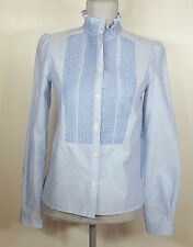 See by Chloé Embroidered Oxford Shirt Long Sleeve Light Blue Womens Size 34 $320
