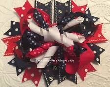 """Red White Navy Nautical Anchor Patriotic Hair Bow 5 1/2"""""""