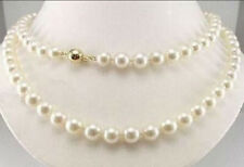 """14K Solid Gold 8-9MM Natural AAA White Akoya Pearl Necklace 34"""""""