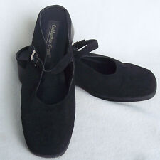 Womens Coldwater Creek Sz 7 M Mary Jane Mules Heels Black  Manmade Suede Shoes