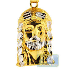 Solid 10K Yellow Gold Diamond Cut Jesus Christ Face Head Mens Small Pendant