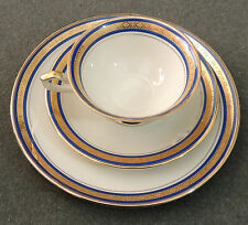 Seltmann Weiden K Bavaria Trio Tea Cup Saucer Plate Blue & Gold Bands EUC