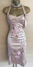 Exquisite Karen Millen Champagne Oriental Orchid Silk Wiggle Dress UK10 Stunning