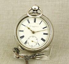 WALTHAM Silber Schlüssel Taschenuhr Uhr silver pocket watch clock fusee spindel