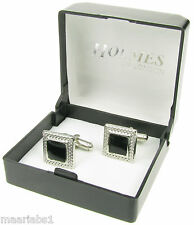 CUFF LINKS BLACK SILVER TUXEDO MENS SHIRT WEDDING PARTY GIFT BOX NEW UK XMAS 067