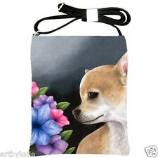 Shoulder Sling Bag Purse from art painting Dog 77 Chihuahua Flower by L.Dumas