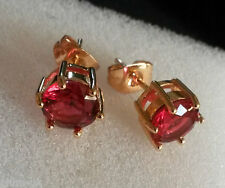 B07. Plum UK 14k yellow gold gf stud earrings 7mm raspberry red tourmaline BOXED